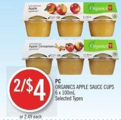 PC Organics Apple Sauce Cups 6 X 100ml