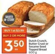 Dutch Crunch - Butter Crust or Sesame Seed Topped Bread