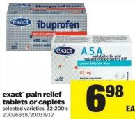 Exact Pain Relief Tablets Or Caplets - 32-200's