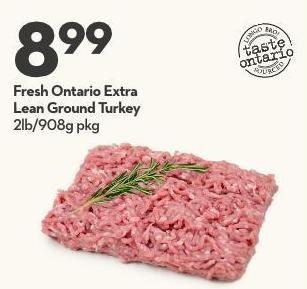 Fresh Ontario Extra Lean Ground Turkey 2lb/908g Pkg