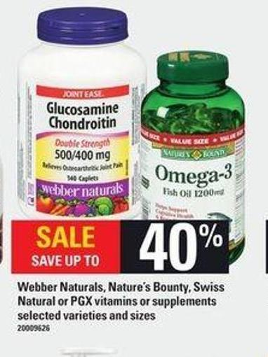 Webber Naturals - Nature's Bounty - Swiss Natural Or Pgx Vitamins Or Supplements