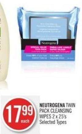 Neutrogena Twin Pack Cleansing Wipes 2 X 25's