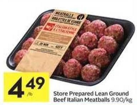 Store Prepared Lean Ground Beef Italian Meatballs