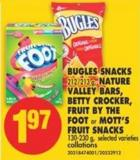Bugles Snacks - 212/213 g - Nature Valley Bars - Betty Crocker - Fruit By The Foot or Mott's Fruit Snacks - 130-230 g