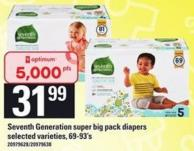 Seventh Generation Super Big Pack Diapers - 69-93's