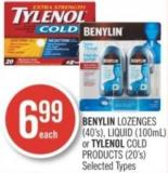 Benylin Lozenges (40's) - Liquid (100ml) or Tylenol Cold Products (20's)