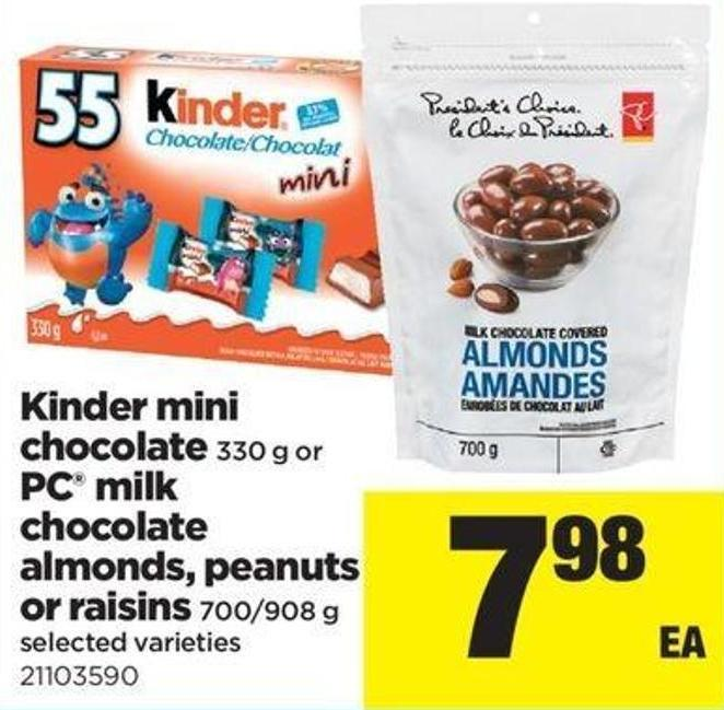 Kinder Mini Chocolate - 330 G Or PC Milk Chocolate Almonds - Peanuts Or Raisins - 700/908 G