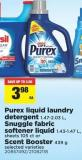 Purex Liquid Laundry Detergent - 1.47-2.03 L - Snuggle Fabric Softener Liquid - 1.43-1.47 L - Sheets 105 Ct Or Scent Booster - 439 g