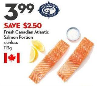 Fresh Canadian  Atlantic Salmon  Portion Skinless 113g