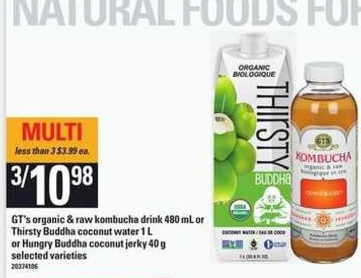 Gt's Organic & Raw Kombucha Drink - 480 Ml Or Thirsty Buddha Coconut Water - 1 L Or Hungry Buddha Coconut Jerky - 40 g