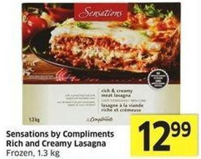 Sensations By Compliments Rich and Creamy Lasagna Frozen - 1.3 Kg