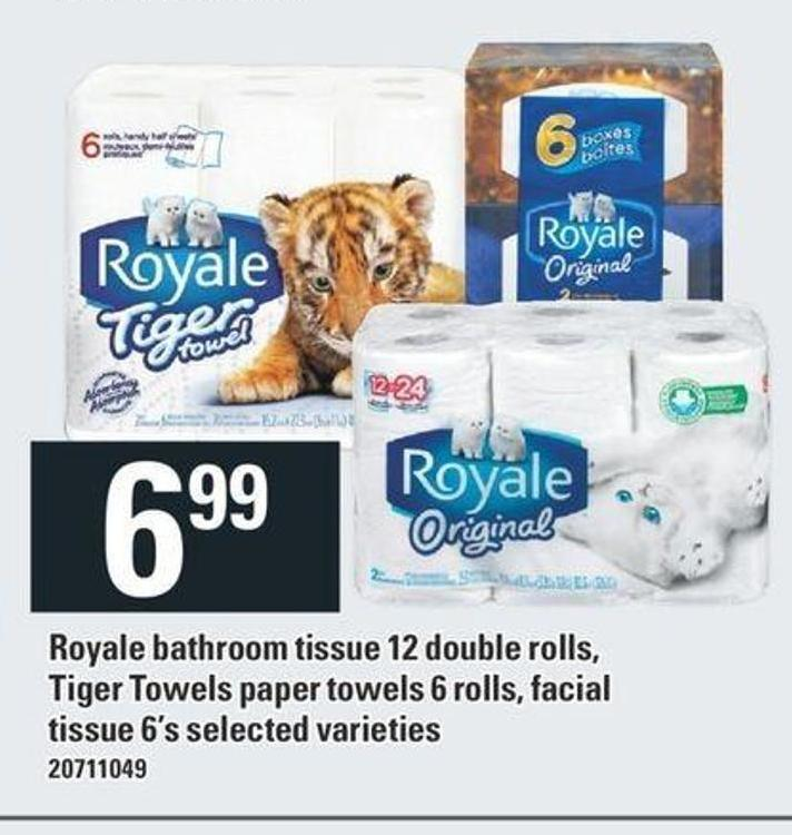 Royale Bathroom Tissue - 12 Double Rolls - Tiger Towels Paper Towels 6 Rolls - Facial Tissue - 6's
