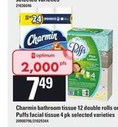 Charmin Bathroom Tissue - 12 Double Rolls Or Puffs Facial Tissue - 4 Pk