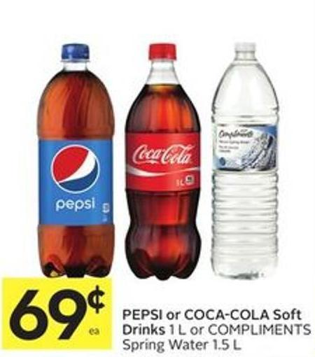Pepsi or Coca-cola Soft Drinks 1 L or Compliments Spring Water 1.5 L