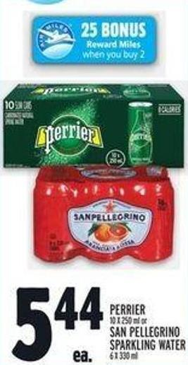 Perrier 10 X 250 ml or San Pellegrino Sparkling Water 6 X 330 ml