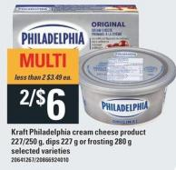 Kraft Philadelphia Cream Cheese Product - 227/250 g - Dips - 227 g or Frosting - 280 g