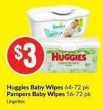 Huggies Baby Wipes 64-72 Pk Pampers Baby Wipes 56-72 Pk