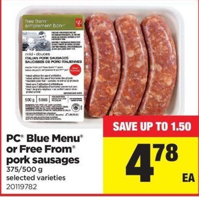 PC Blue Menu Or Free From Pork Sausages - 375/500 G