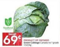 Product Of Ontario Green Cabbage Canada No 1 Grade