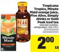 Tropicana Tropics - Minute Maid Orange Juice - Five Alive - Simply Drinks Or Gold Peak Iced Tea - 1.54-1.75 L
