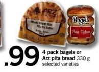 4 Pack Bagels Or Arz Pita Bread 330 G