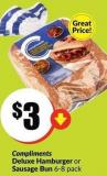 Compliments Deluxe Hamburger or Sausage Bun 6-8 Pack
