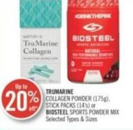 Trumarine Collagen Powder (175g) - Stick Packs (14's) or Biosteel Sports Powder Mix