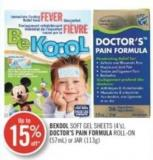 Bekool Soft Gel Sheets(4's) - Doctor's Pain Formula Roll-on (57 Ml) or Jar(113g)