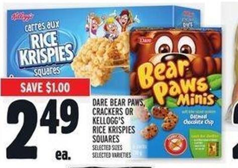 Dare Bear Paws - Crackers or Kellogg's Rice Krispies Squares