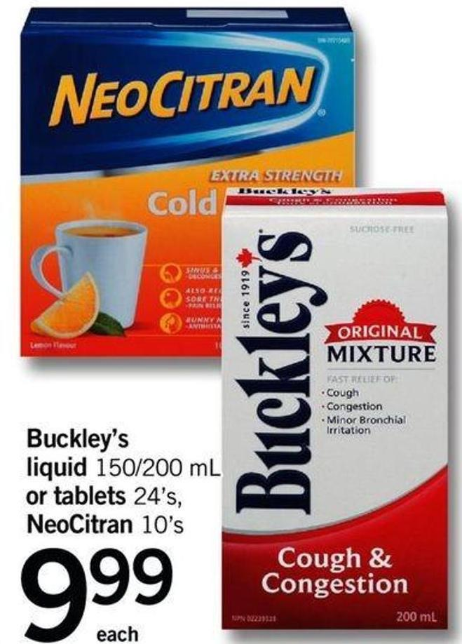 Buckley's Liquid 150/200 Ml Or Tablets 24's - Neocitran 10's