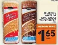Selection White Or 100% Whole Wheat Bread 675 g