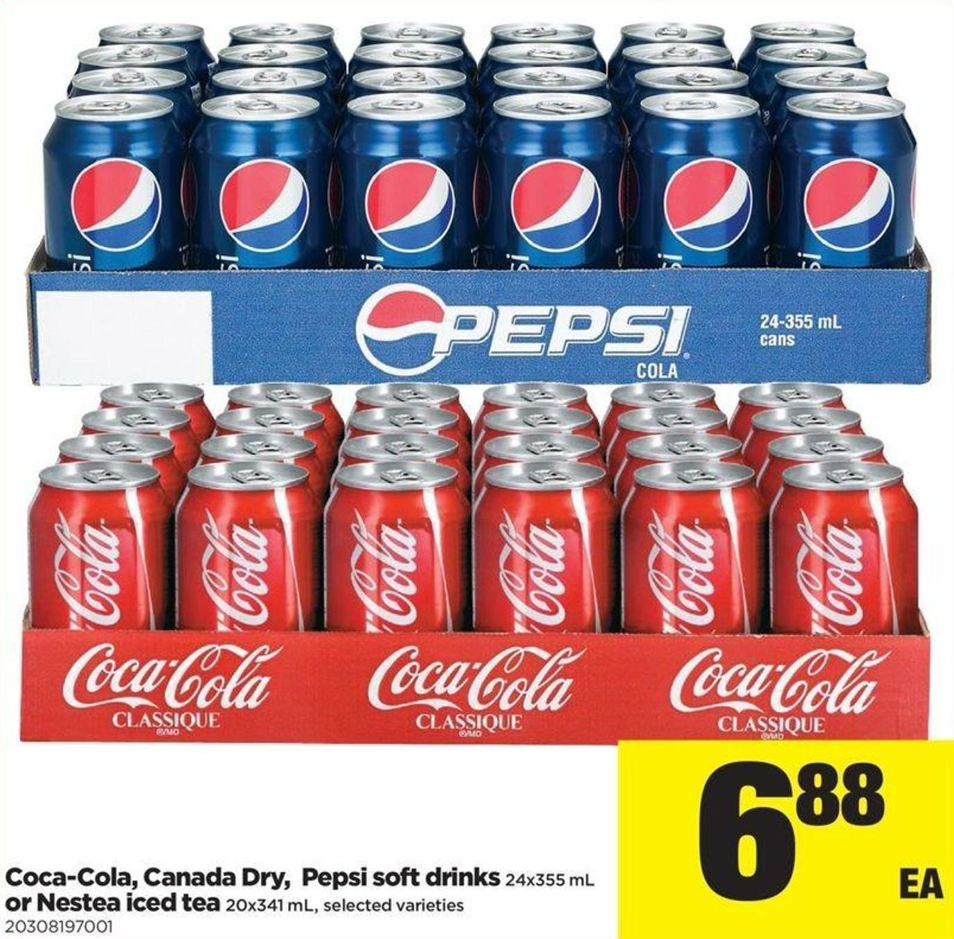 Coca-cola - Canada Dry - Pepsi Soft Drinks 24x355 Ml Or Nestea Iced Tea 20x341 Ml