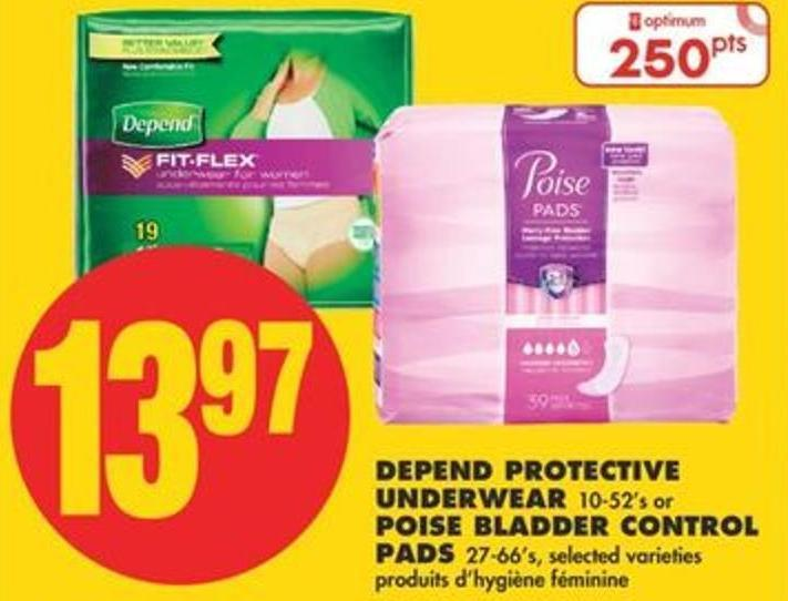 Depend Protective Underwear - 10-52's or Poise Bladder Control Pads - 27-66's