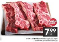 Beef Short Ribs or Korean Style Cut From Canada Aa Grade Beef