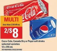 Coca-cola - Canada Dry Or Pepsi Soft Drinks - 12 X 355 mL