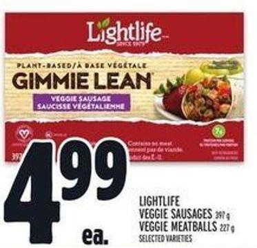 Lightlife Veggie Sausages 397 g - Veggie Meatballs 227 g