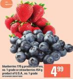 Blueberries 170 G Product Of Peru - No. 1 Grade Or Strawberries 454 G