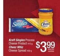 Kraft Singles Process Cheese Product - 410 G Cheez Whiz Cheese Spread - 450 G