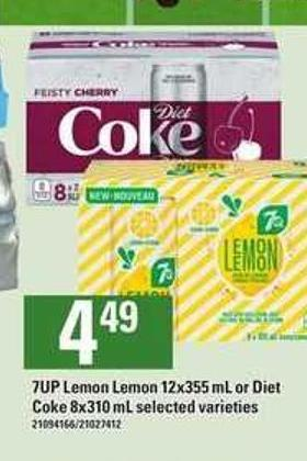 7up Lemon Lemon - 12x355 Ml Or Diet Coke - 8x310 Ml