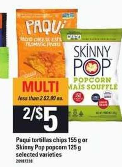 Paqui Tortillas Chips - 155 g Or Skinny Pop Popcorn - 125 g