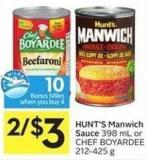 Hunt's Manwich Sauce 398 mL or Chef Boyardee 212-425 g - 10 Air Miles Bonus Miles