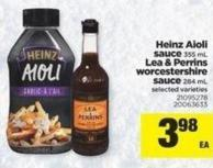 Heinz Aioli Sauce - 355 mL Lea & Perrins Worcestershire Sauce - 284 mL