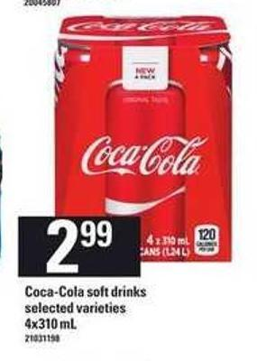 Coca-cola Soft Drinks - 4x310 Ml$2.99