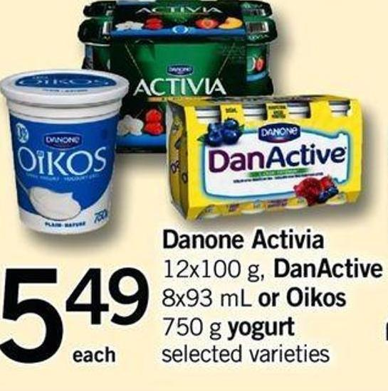 Danone Activia 12x100 G - Danactive 8x93 Ml Or Oikos 750 G Yogurt