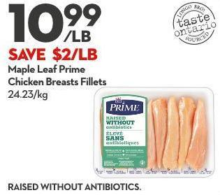 Maple Leaf Prime Chicken Breasts Fillets 24.23/kg