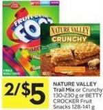 Nature Valley Trail Mix or Crunchy 130-230 g or Betty Crocker Fruit Snacks 128-141 g