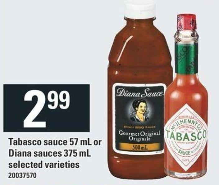 Tabasco Sauce 57 Ml Or Diana Sauces 375 Ml