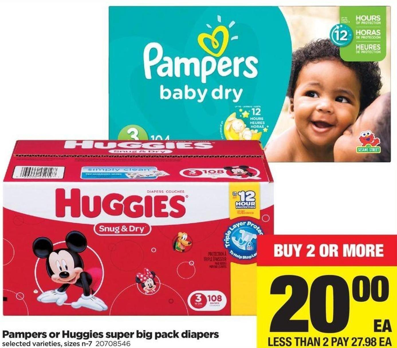 Pampers Or Huggies Super Big Pack Diapers - Sizes N-7