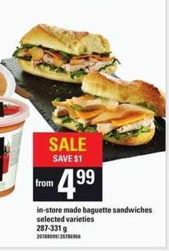 In-store Made Baguette Sandwiches - 287-331 g
