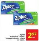 Ziploc Sandwich - Freezer - Storage or Produce Bags
